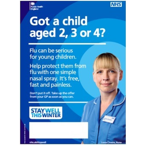 Thumbnail for A3 Printed poster, flu, for parents with child aged 2, 3 or 4 2015/2016