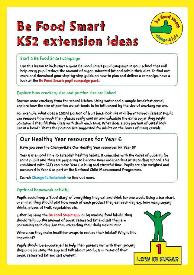 Food labels lesson ks2