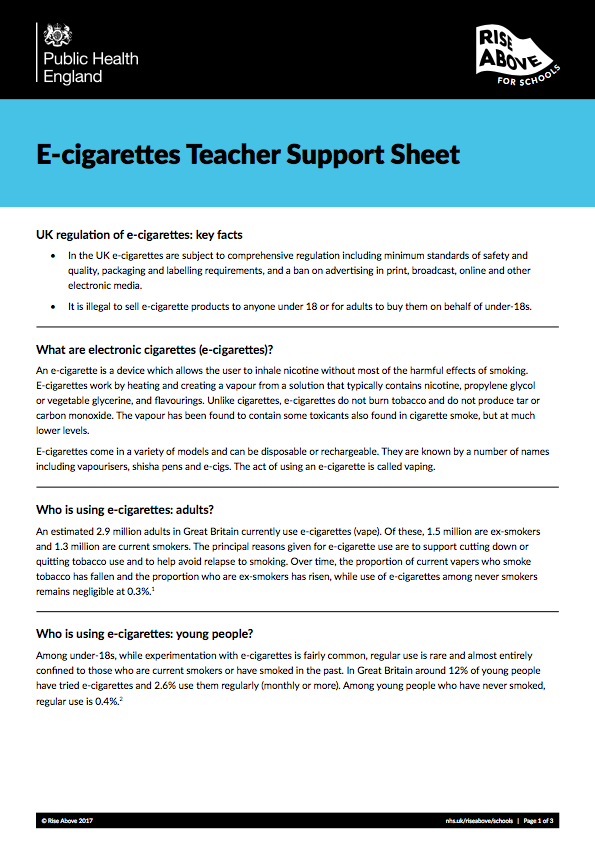 Smoking lesson plan