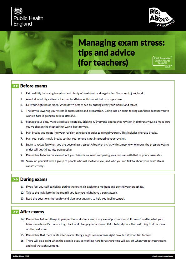 Exam stress lesson plan