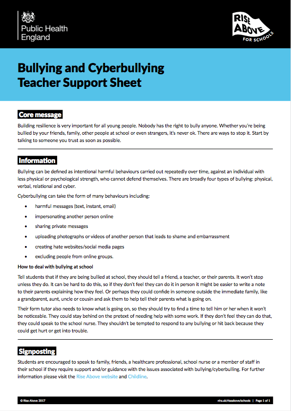 Bullying and cyberbullying lesson plan pack