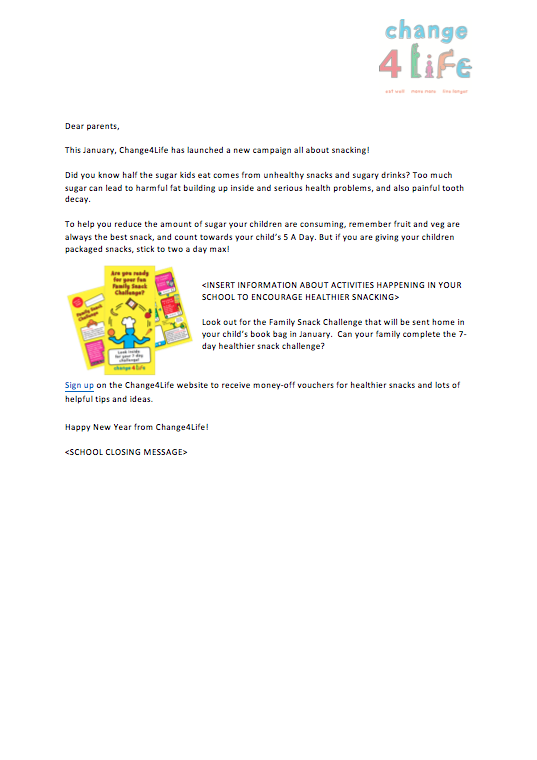 phe school zone healthier snacking newsletter template