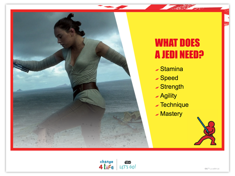 Train Like A Jedi powerpoint slide with a picture of Rey from Star Wars and the question 'What does a Jedi need?' followed by the bullet points stamina, speed, strength, agility, technique and mastery