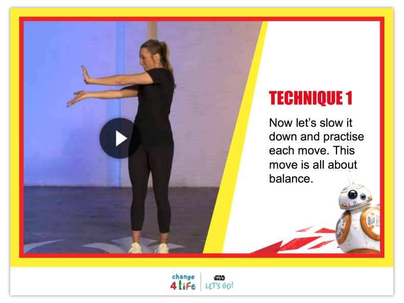 Train Like A Jedi powerpoint slide with a picture of Jade Jones, Olympic taekwondo champion, and the title 'Technique 1' followed by the words 'now let's slow down and practise each move. This move is all about balance.'
