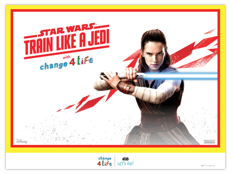 Train Like A Jedi whole-school assembly powerpoint opening slide with a picture of Rey from Star Wars holding her lightsaber