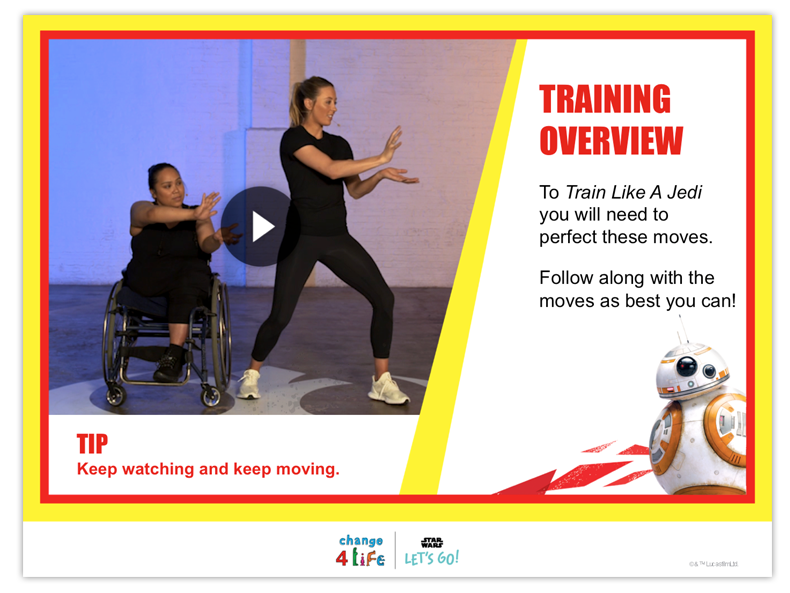 Train Like A Jedi reception PE lesson plan slide with a video of Jade Jones, Olympic taekwondo champion, and Laura, a professional wheelchair dancer, and the title 'training overview'