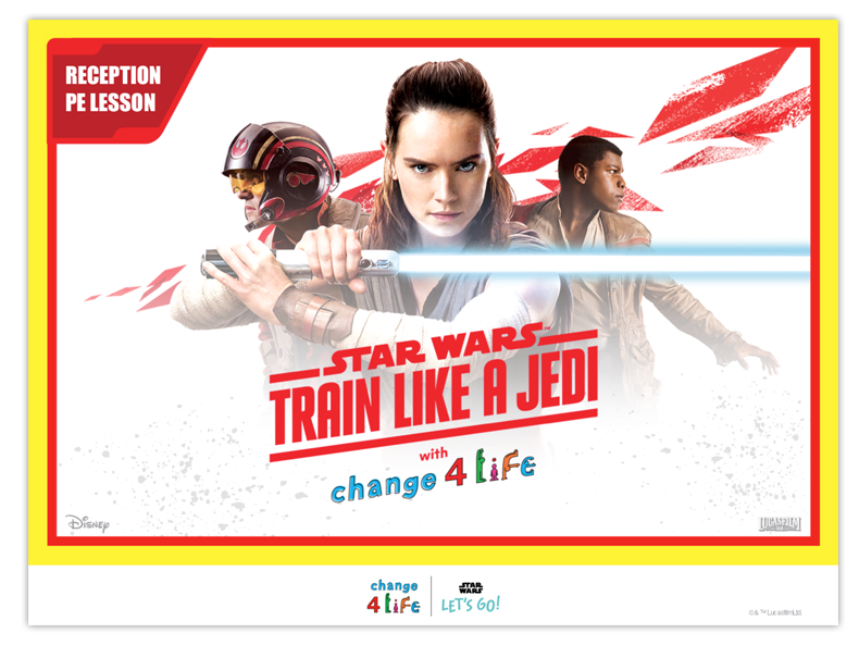Train Like A Jedi Reception PE lesson plan powerpoint opening slide with a picture of Rey from Star Wars holding her lightsaber, with Poe Dameron and Finn in the background
