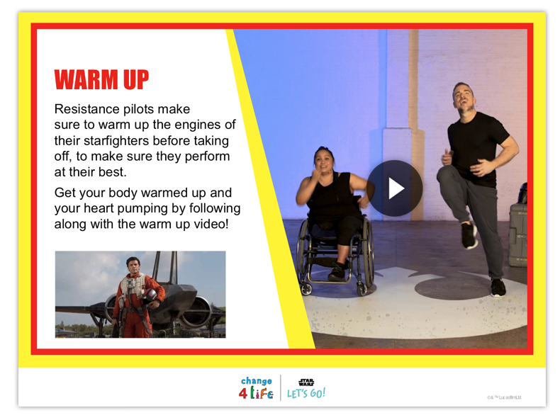 Train Like A Jedi lower KS2 PE lesson plan slide with a video of Laura, a professional wheelchair dancer, and another trainer, and the title 'warm up'