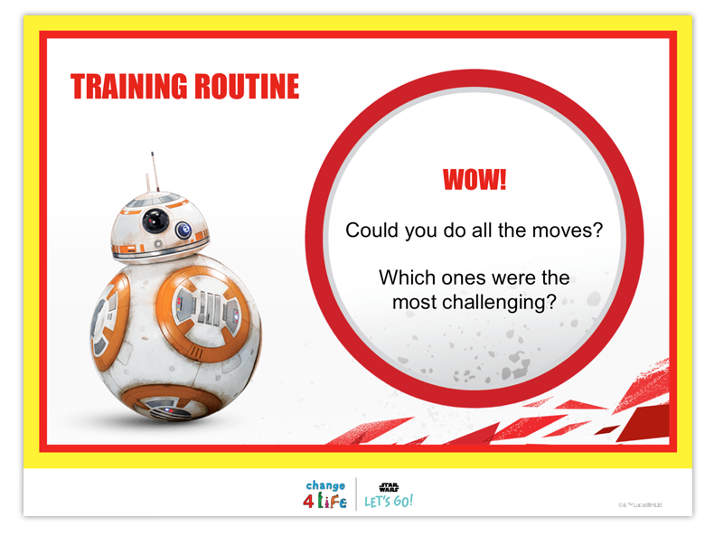 Train Like A Jedi lower KS2 PE lesson plan powerpoint slide with a picture of BB-8 from Star Wars and the title 'training routine'. The text reads 'could you do all the moves? Which ones were the most challenging?'