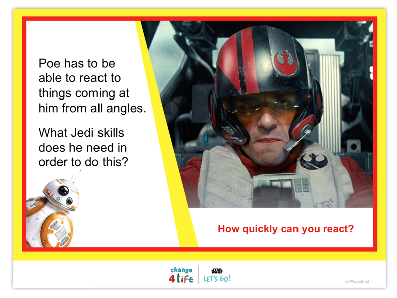 Train Like A Jedi lower KS2 PE lesson plan powerpoint slide with a picture of Poe Dameron from Star Wars and the words 'Poe has to be able to react to things coming at him from all angles. What Jedi skills does he need in order to do this?'