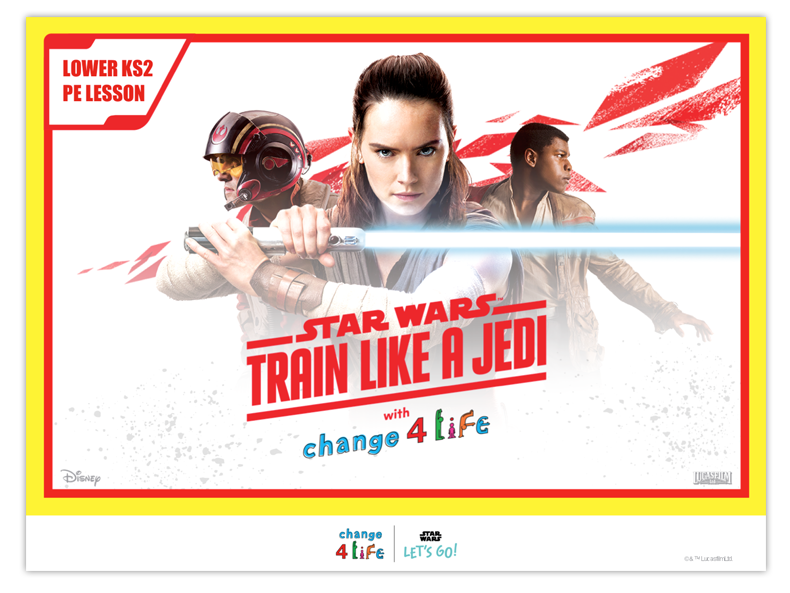 Train Like A Jedi lower KS2 PE lesson plan powerpoint opening slide with a picture of Rey from Star Wars holding her lightsaber, with Poe Dameron and Finn in the background