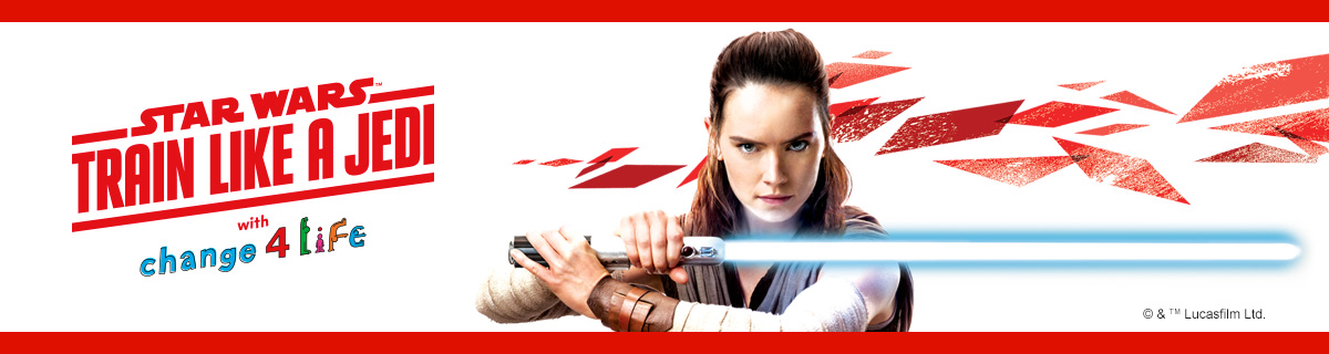 Train Like A Jedi banner featuring a picture of Rey holding a lightsaber