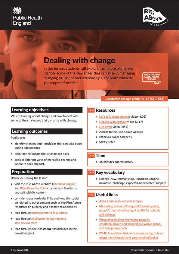 Dealing with change lesson plan